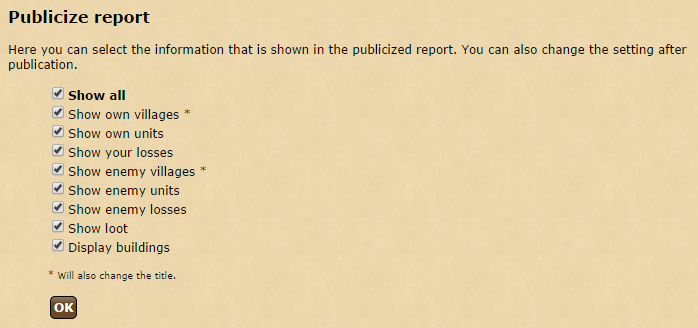 The options for publishing a report.